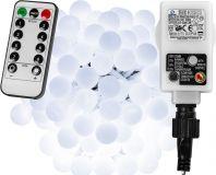 Párty LED osvetlenie 5 m - studená biela 50 diód + ovládač