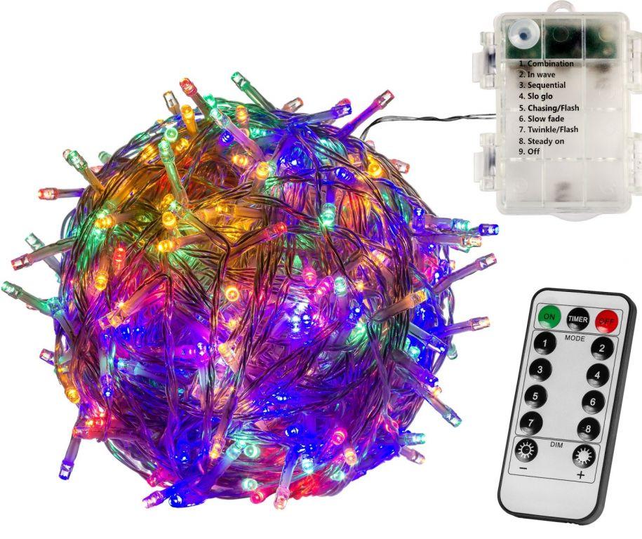 Vianočná reťaz 5m - farebná 50 LED na BATÉRIE + ovládač