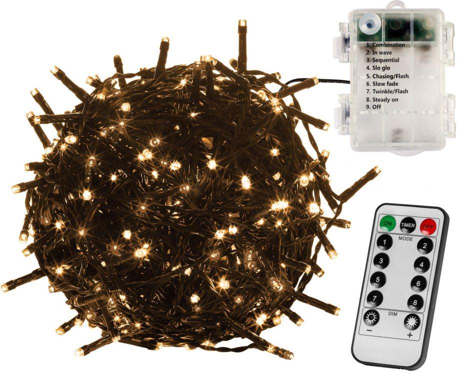 Vianočná reťaz 10m - teplá biela 100 LED na BATÉRIE