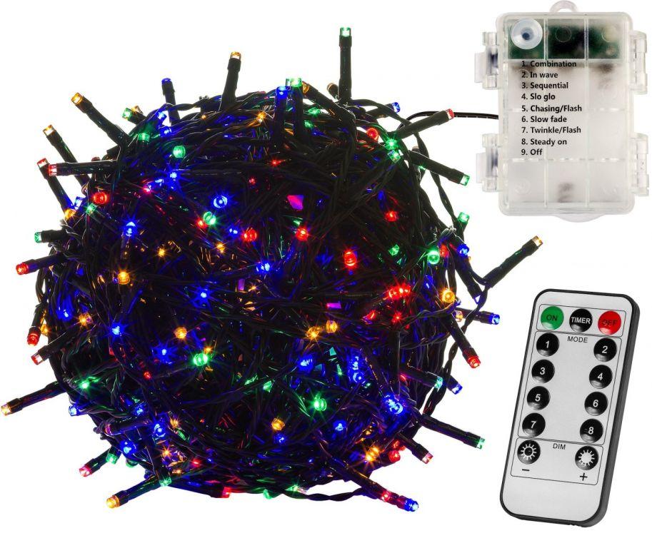 Vianočná reťaz 10m - farebná 100 LED na BATÉRIE
