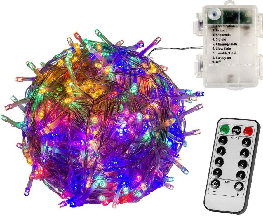Vianočná reťaz 20m - farebná 200 LED na BATÉRIE