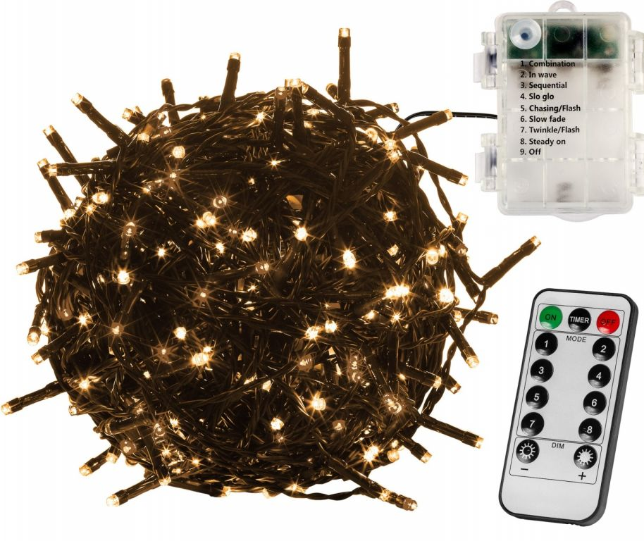 Vianočná reťaz 20m - teplá biela 200 LED na BATÉRIE