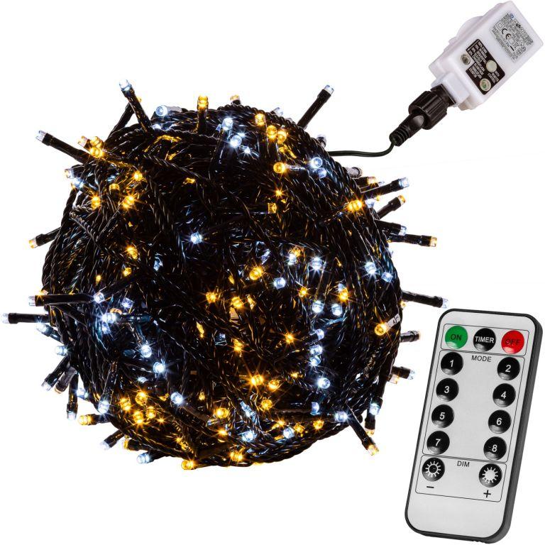 Vianočná reťaz 20m - teple/studeno biela 200 LED + ovládač