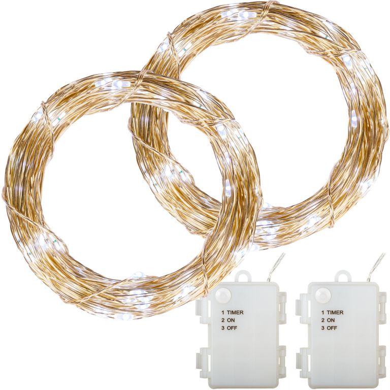 Sada 2 kusov svetelných drôtov - 50 LED, studená biela