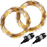 Sada 2 kusov svetelných drôtov 100 LED - teple/studeno biela