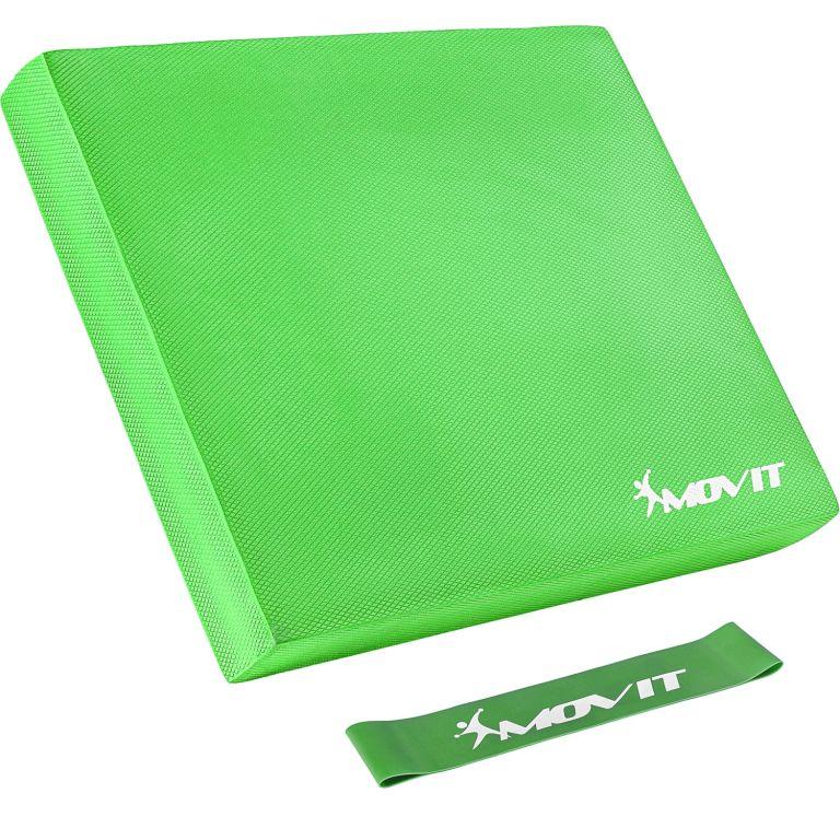 Balančný vankúš s gymnastickou gumou - zelený
