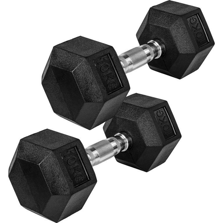 MOVIT® Šesťhranná gumová činka 10 kg sada 2 kusov