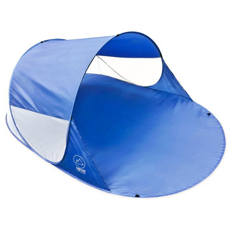 Pop-up stan, prístrešok na pláž, 240 x 140 x 100 cm, modrý