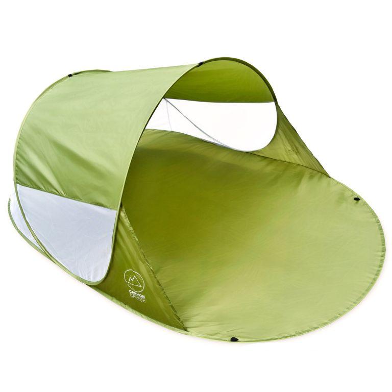Pop-up stan, prístrešok na pláž, 240 x 140 x 100 cm, zelený