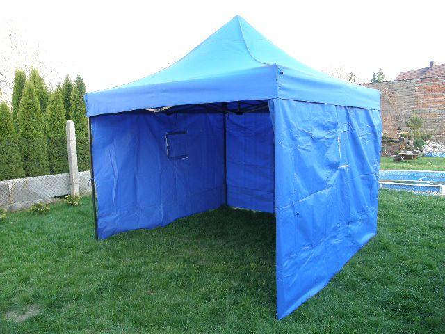 Záhradný párty stan DELUXE nožnicový + bočné steny - 3 x 3 m modrá