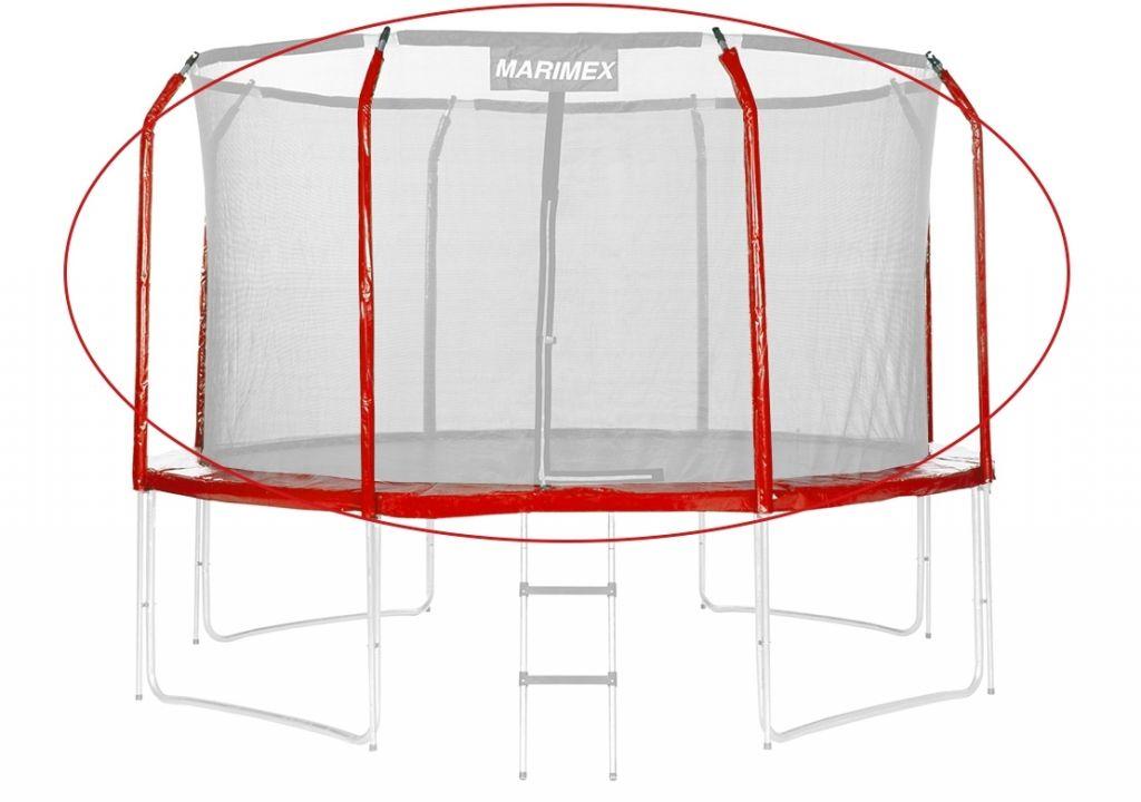 Sada krytov pružín a rukávov na trampolínu - červená, 305 cm
