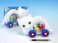 Kočka s míčky tahací plast 27x16x10cm v sáčku 12m+
