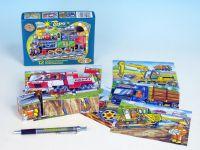 Kostky kubus Dopravní prostředky dřevo 12ks v krabičce 16,5x12x4cm