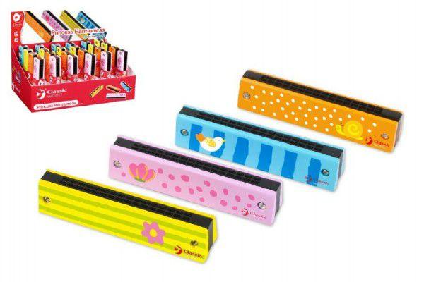 Harmonika Princess dřevo 13x2,7x2,8cm - 4 barvy