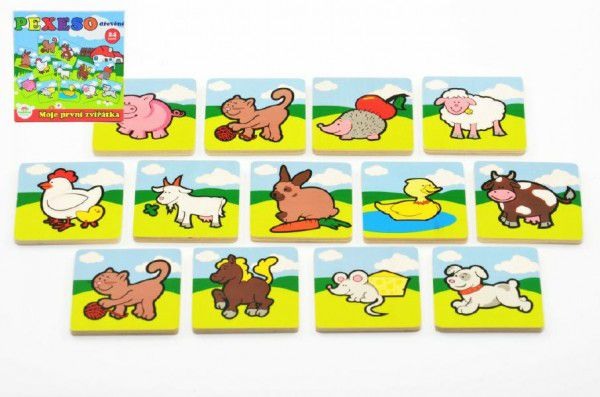 Pexeso Moje první zvířátka dřevěné 24 dílků pro nejmenší v krabičce 19,5x19,5x3,5cm 12m+ MPZ