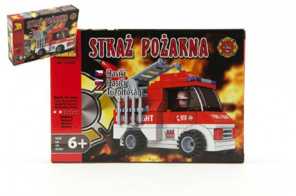 Stavebnice Dromader Hasiči Auto 21407 v krabici 22x15x4,5cm