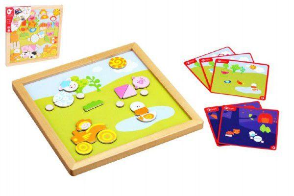 Magnetická tabulka dřevo 25x25x1,2cm oboustranná 53ks