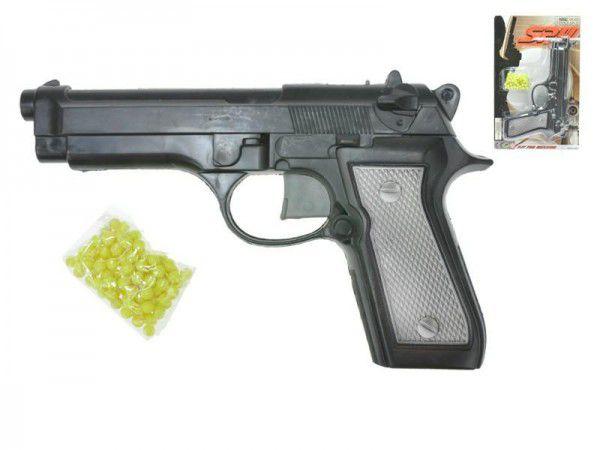 Pistole na kuličky plast 22cm s kuličkami na kartě