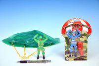 Parašutista voják plast 11cm s padákem asst na kartě