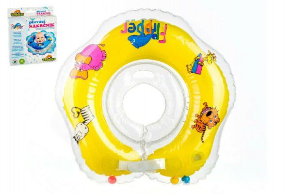 Plavací nákrčník Flipper/Kruh žlutý v krabici 17x20cm 0+