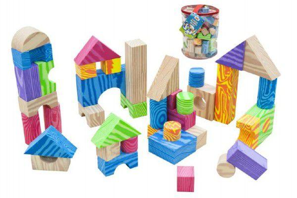 Kostky pěnové barevné měkké 60ks imitace dřeva v plastové tašce 23x28x23cm