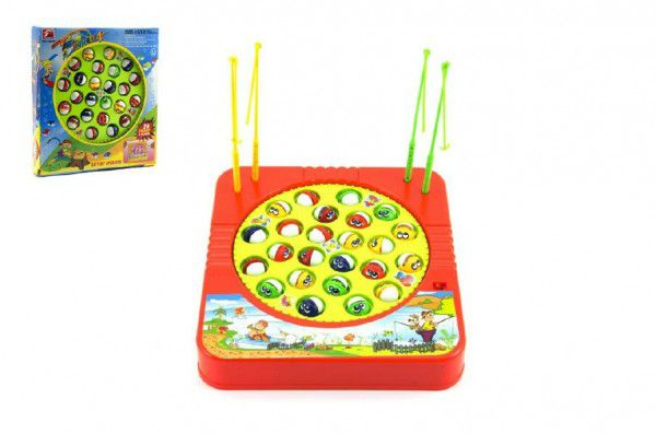 Hra ryby/rybář plast 24 ryb 22x23cm společenská hra na baterie v krabici