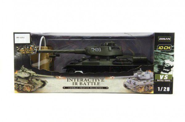 Tank RC plast 33cm T34 27MHz na baterie+dobíjecí pack se zvukem a světlem v krabici 40x15x19cm