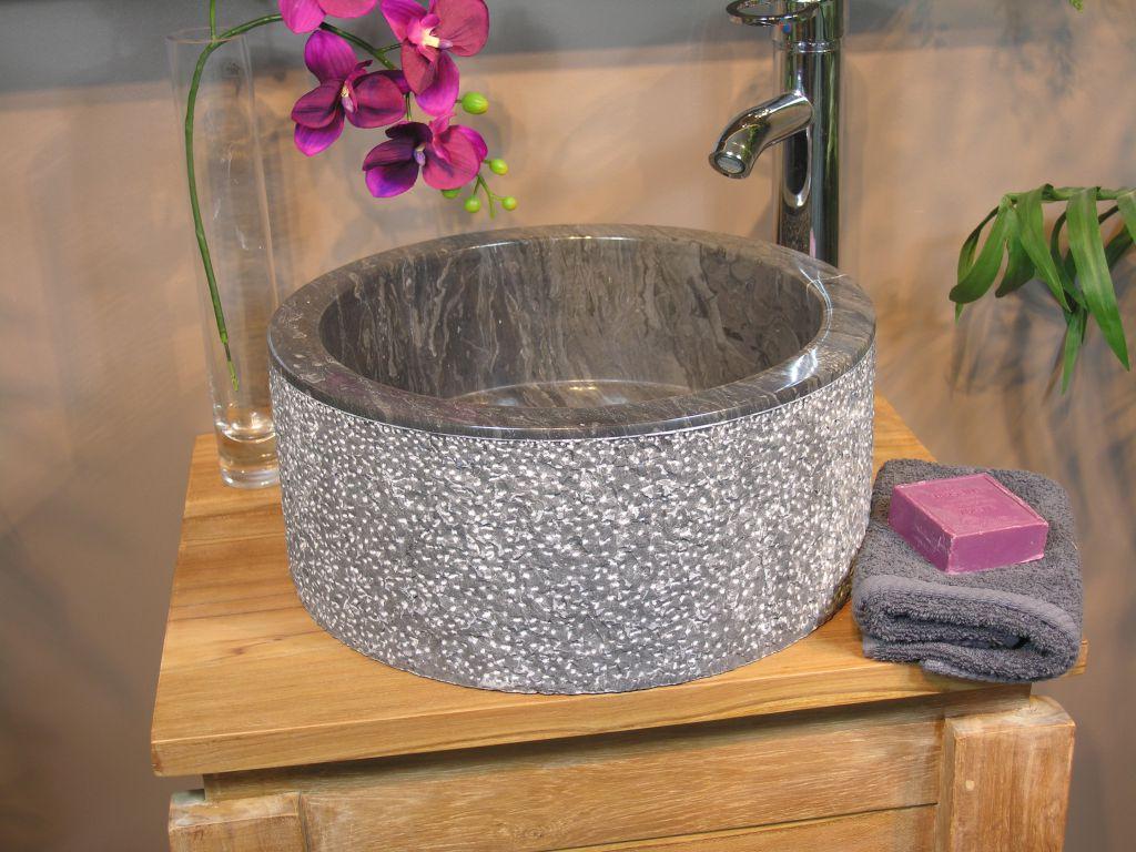 Umývadlo z prírodného kameňa MIRUM 509 Ø 40 cm Black