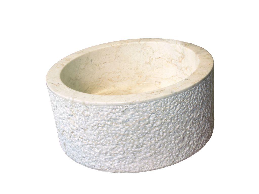Umývadlo z prírodného kameňa MIRUM 509 Ø 40 cm Cream