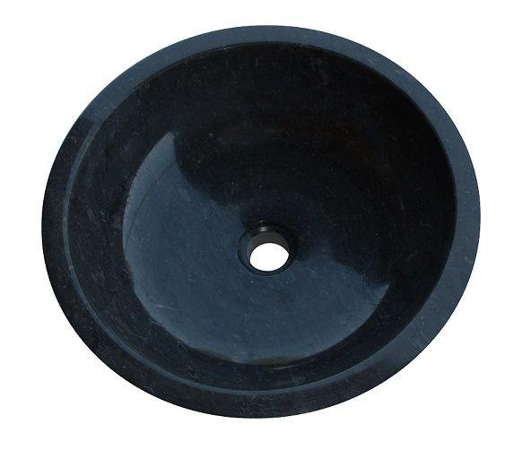 Umývadlo z prírodného kameňa Gemma 501 leštený mramor Ø 45 cm Black