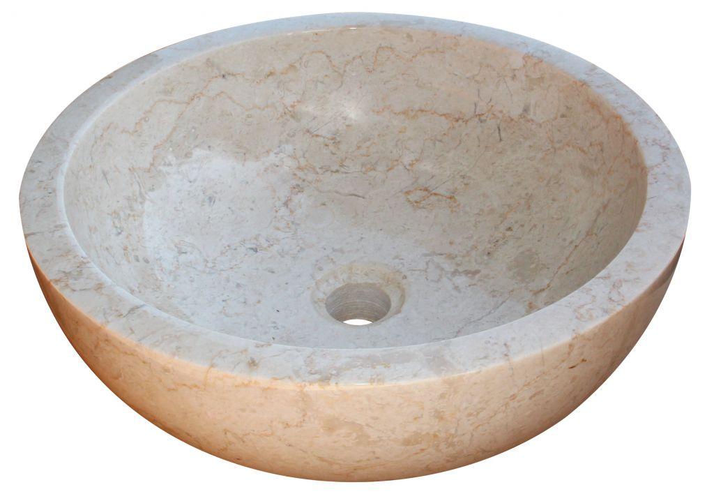 Kamenné umývadlo Gemma 501 leštený mramor Ø 50 cm Cream