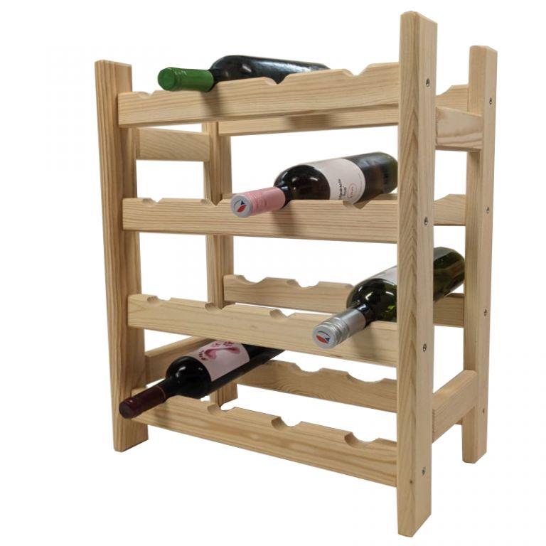 Drevený stojan na víno pre 16 fliaš