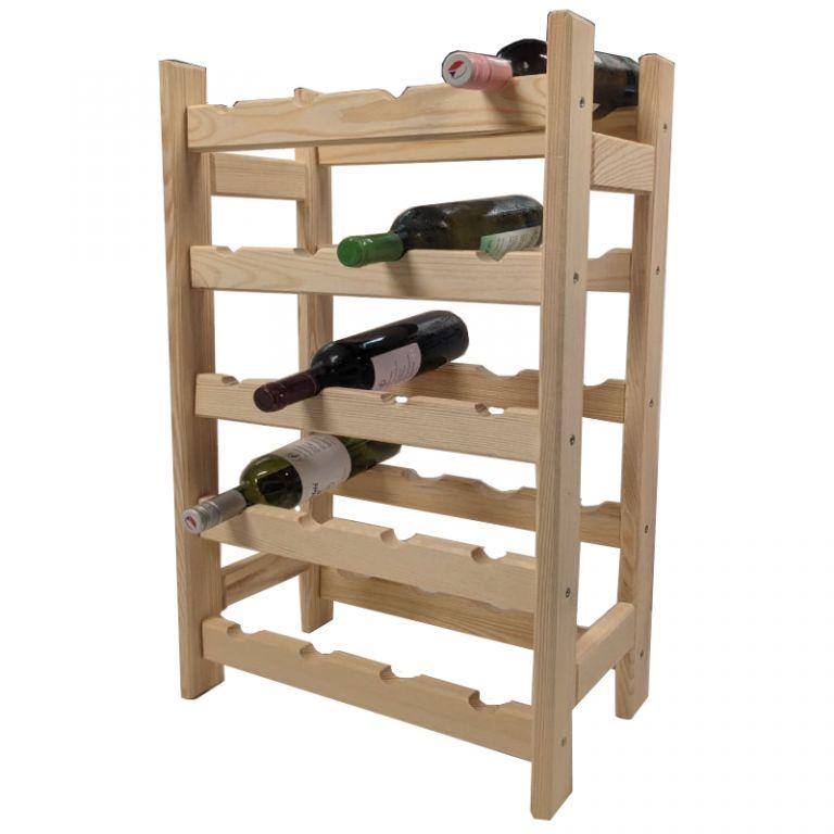 Drevený stojan na víno pre 20 fliaš
