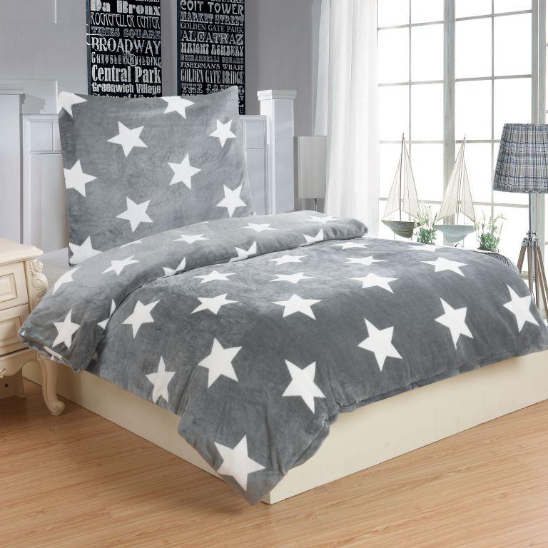 Mikroplyšové obliečky STARS GREY