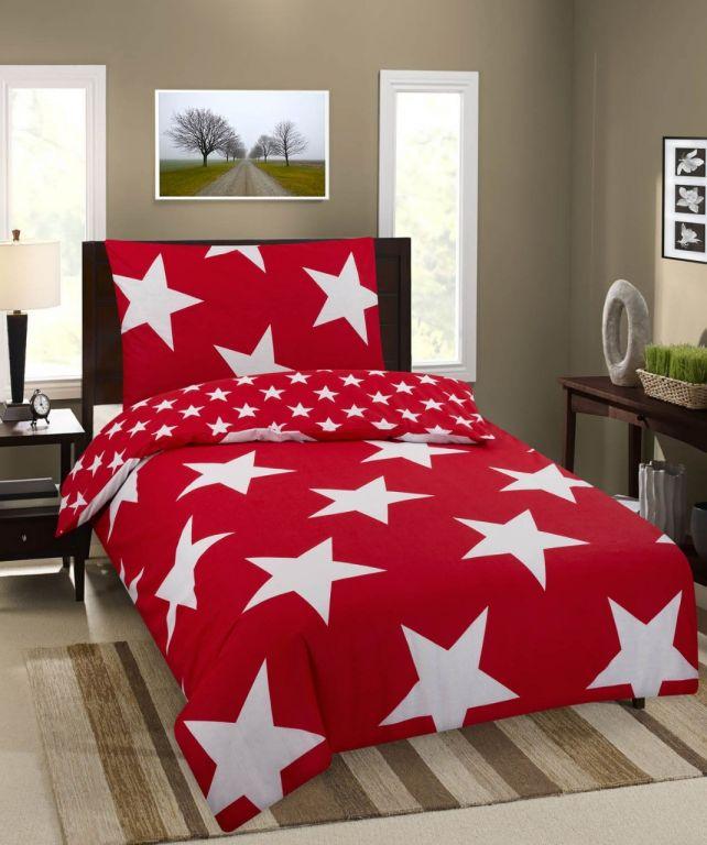 Obliečky Hviezdy Premium - červená