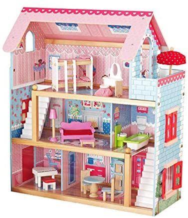 Drevený domček pre bábiky s LED svetlom, 76 x 30 x 82 cm