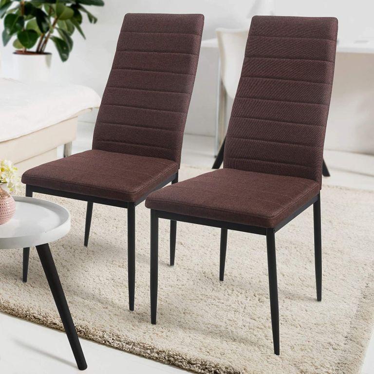 Sada jedálenských stoličiek s látkovým poťahom, hnedé, 2 ks