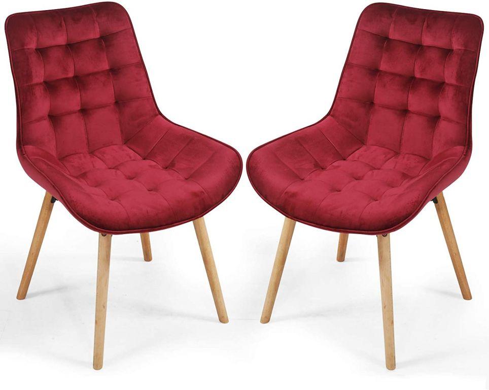 Sada prešívaných jedálenských stoličiek, tmavočervené, 2 ks