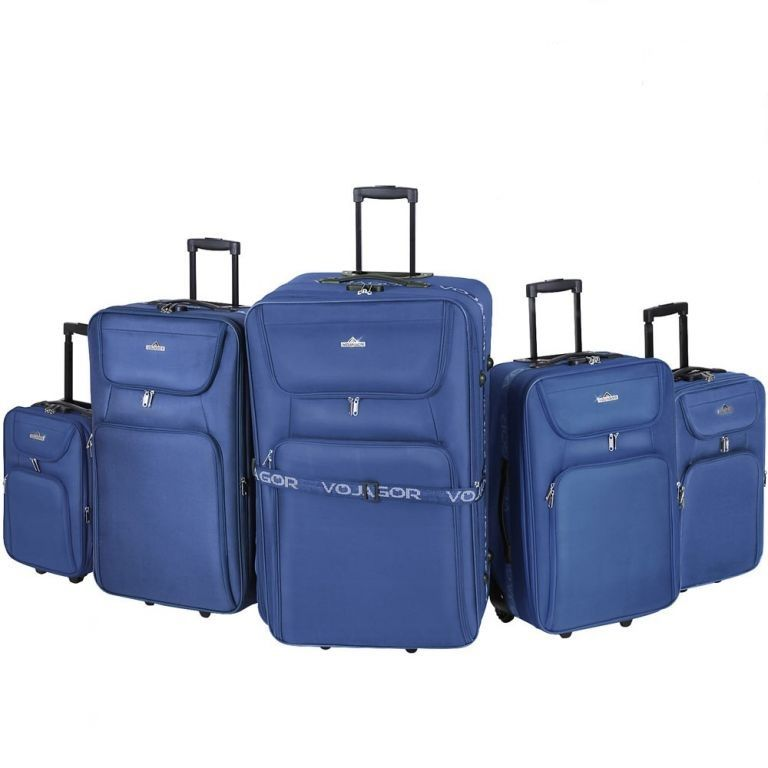 Sada cestovných kufrov na kolieskach, 5-dielna, modrá