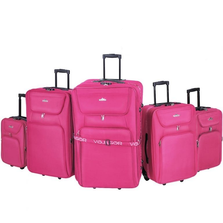 Sada cestovných kufrov na kolieskach, 5-dielna, ružová