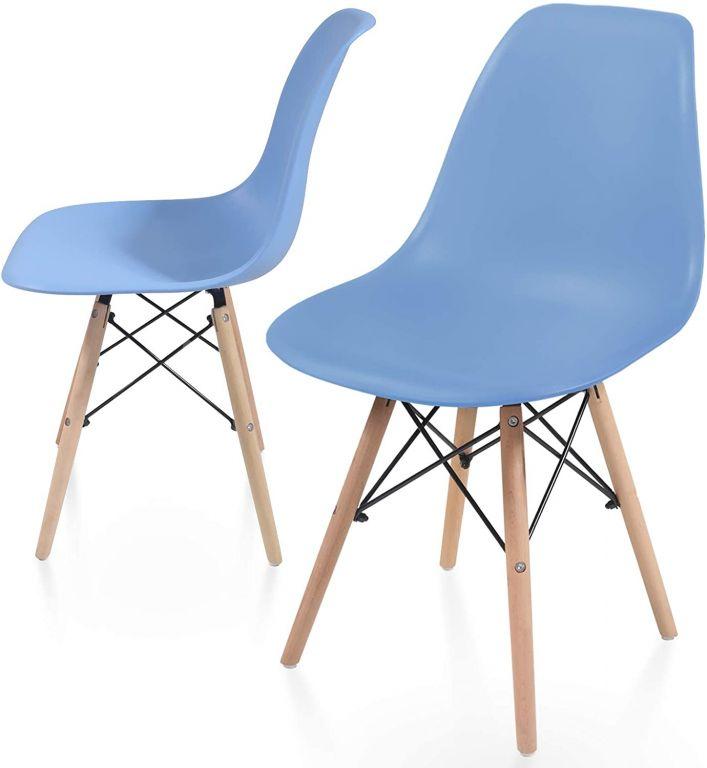 Sada jedálenských stoličiek s plastovým sedadlom, 2 ks