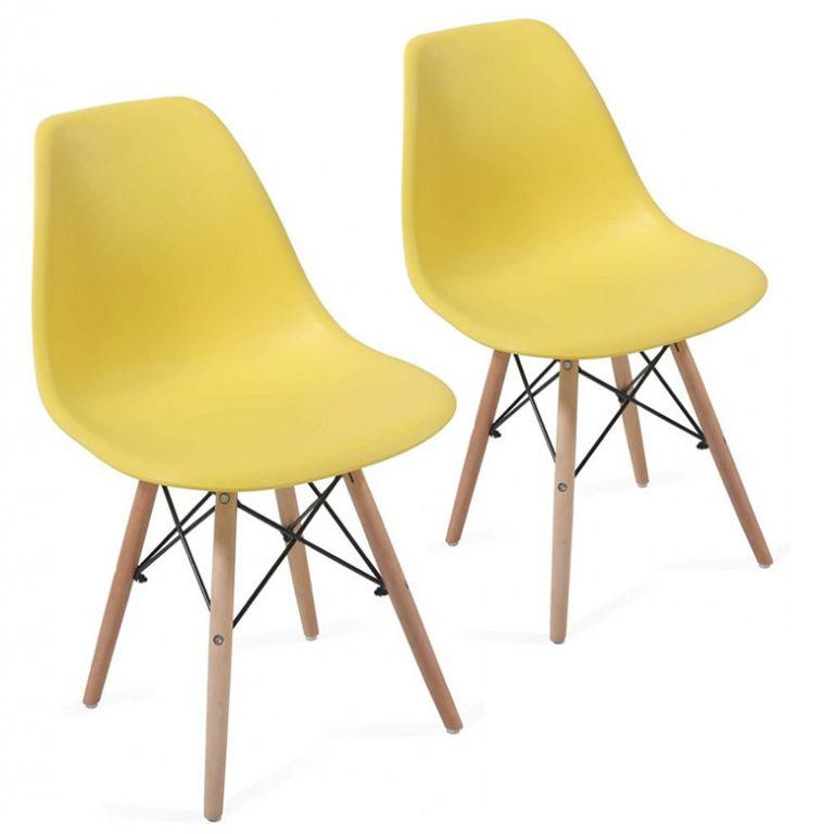 Sada stoličiek s plastovým sedadlom, 2 ks, žlté