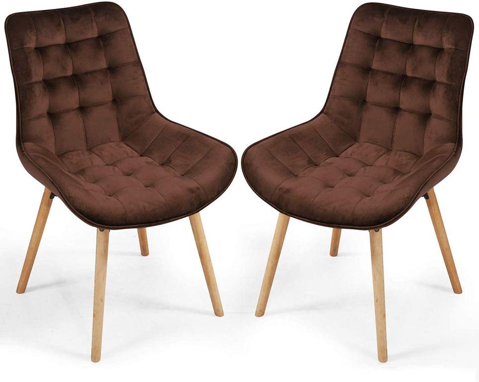 Sada prešívaných jedálenských stoličiek, hnedé, 2 ks