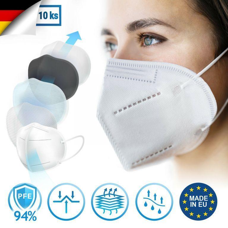 Ochranná maska, respirátor FFP2, 10 kusov