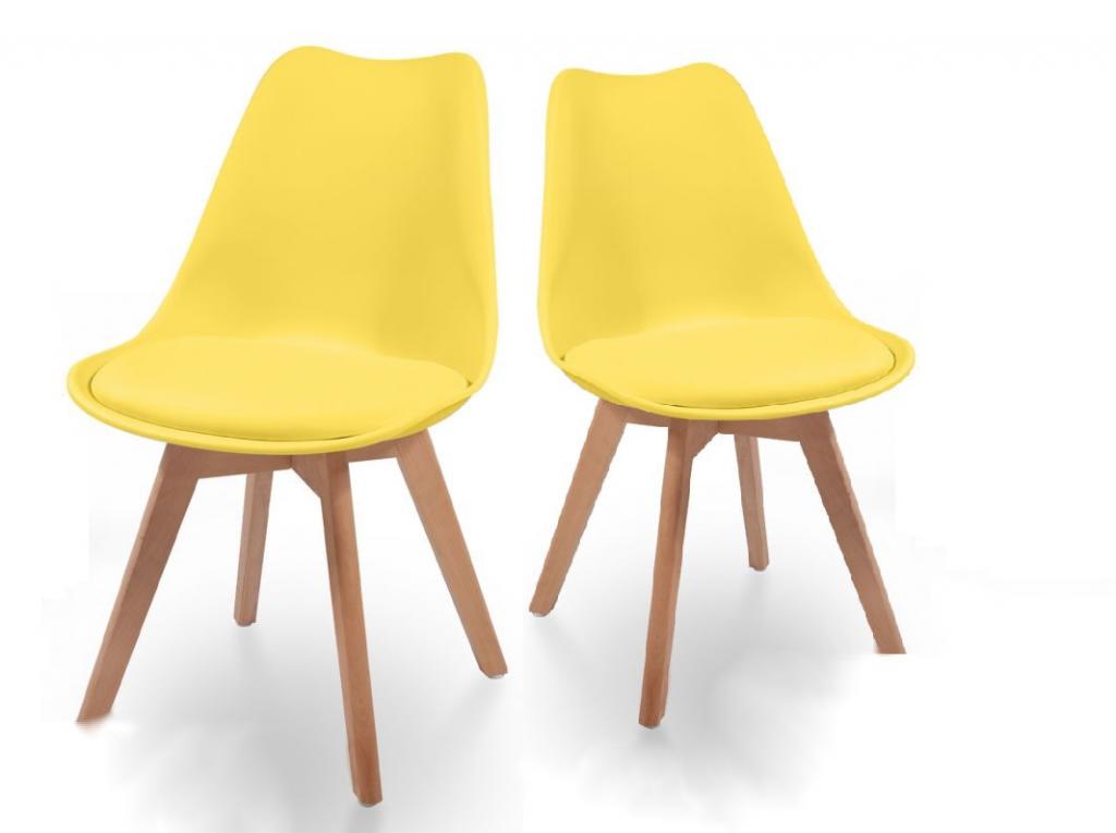 Sada jedálenských stoličiek s plastovým sedadlom, 2 ks, žlté