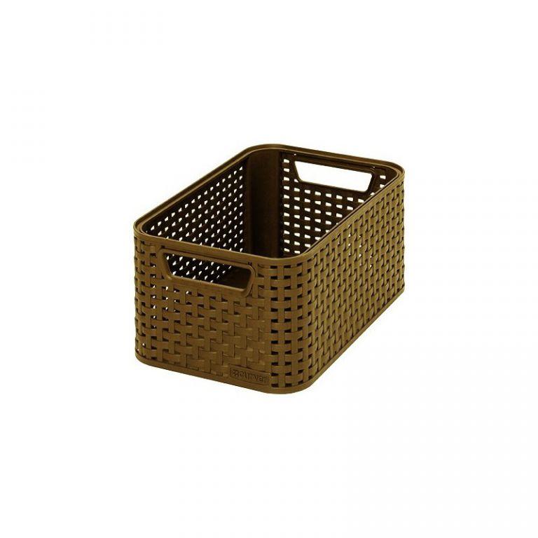 Plastový úložný STYLE BOX - S- kávový CURVER