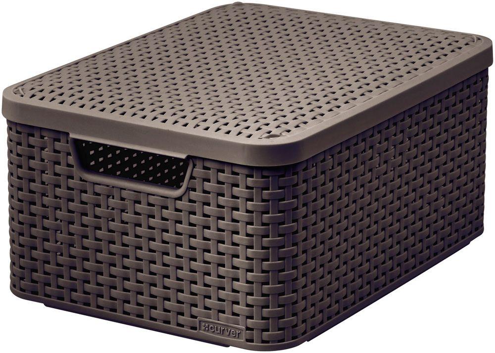 Košík box s vekom - M - tm. hnedý CURVER
