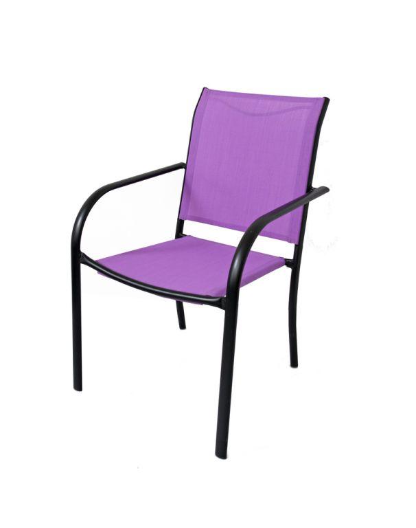 Záhradné kovové kreslo fialové