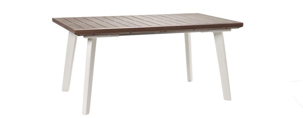 Záhradný rozkladací stôl HARMONY biely + cappuccino