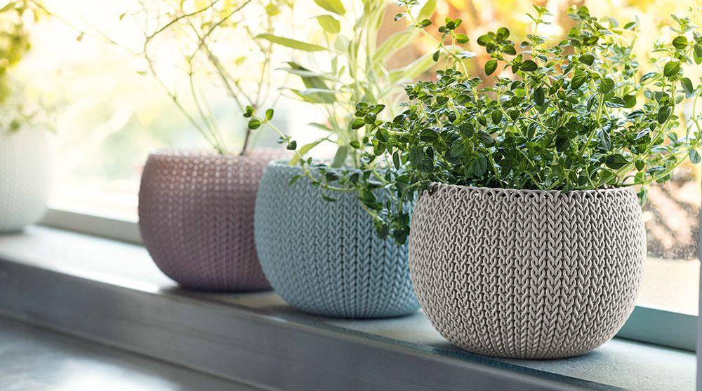 Sada troch designových plastových kvetináčov COZIES TRIO